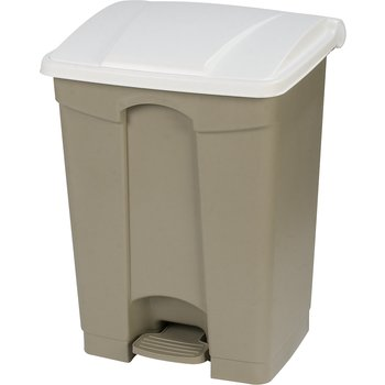 34614502 - Square Step-On Waste Container Trash Can with Hinged Lid 18 Gallon - White
