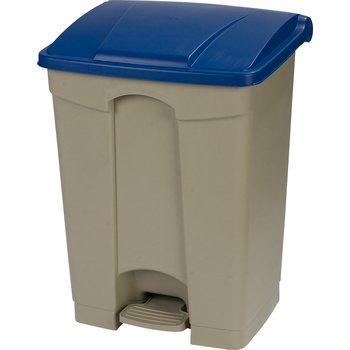 34614514 - Square Step-On Waste Container Trash Can with Hinged Lid 18 Gallon - Blue
