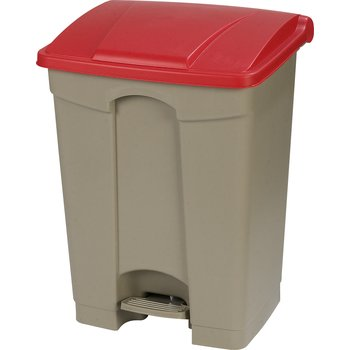 34614505 - Square Step-On Waste Container Trash Can with Hinged Lid 18 Gallon - Red