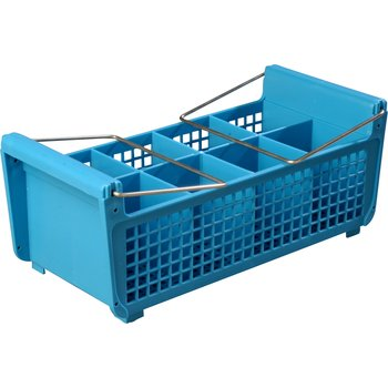 "C32P214 - Perma-Sil™ Flatware Basket with Handles 17"" x 7.75"" x 6.9"" - Carlisle Blue"