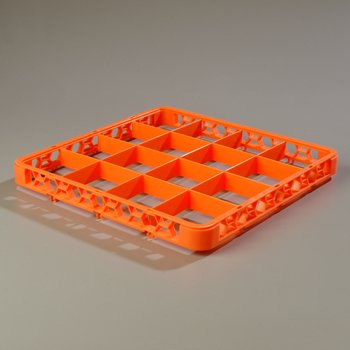 RE16C24 - OptiClean™ 16-Compartment Divided Glass Rack Extender  - Orange
