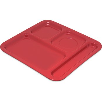 "4398405 - 4-Compartment Tray 10-1/8"", 9-25/32"", 1/2"" - Red"