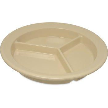 """4351625 - Dallas Ware® Melamine 3-Compartment Deep Plate 9"""" - Tan"""