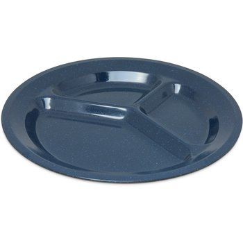 """4351235 - Dallas Ware® Melamine 3-Compartment Plate 11"""" - Café Blue"""