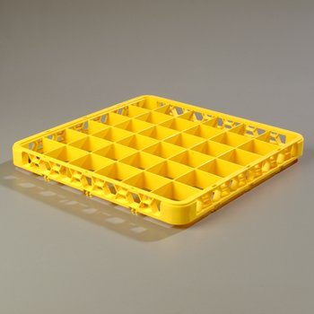 RE36C04 - OptiClean™ 36-Compartment Divided Glass Rack Extender  - Yellow