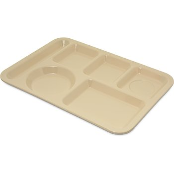 4398025 - Left-Hand Heavy Weight 6-Compartment Tray - Tan