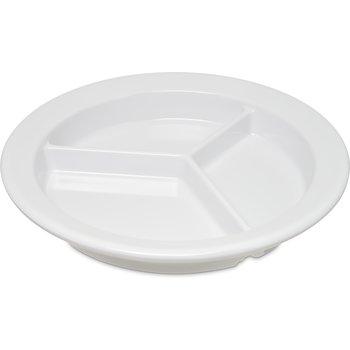 """4351602 - Dallas Ware® Melamine 3-Compartment Deep Plate 9"""" - White"""