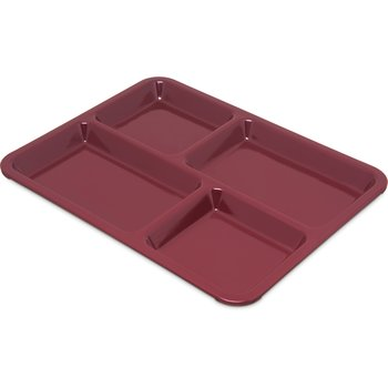 "KL44485 - 4-Compartment Tray 10-15/16"", 8-21/32"", 5/8"" - Dark Cranberry"