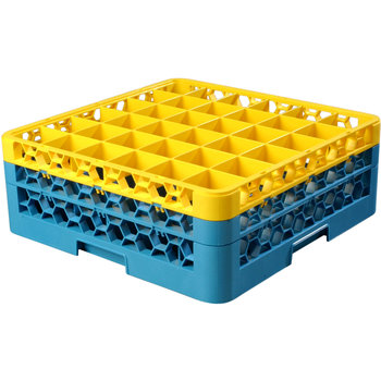 "RG36-2C411 - OptiClean™ 36 Compartment Glass Rack with 2 Extenders 7.12"" - Yellow-Carlisle Blue"