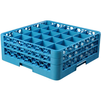 "RG25-214 - OptiClean™ 25 Compartment Glass Rack with 2 Extenders 7.12"" - Carlisle Blue"