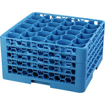 RW30-314 - OptiClean™ NeWave™ Glass Rack with Four Extenders 30 Compartment - Carlisle Blue
