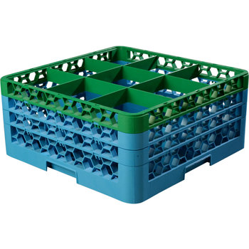 """RG9-3C413 - OptiClean™ 9 Compartment Glass Rack with 3 Extenders 8.72"""" - Green-Carlisle Blue"""