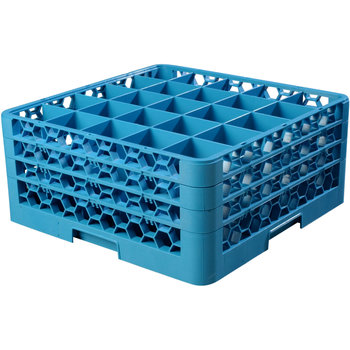 "RG25-314 - OptiClean™ 25 Compartment Glass Rack with 3 Extenders 8.72"" - Carlisle Blue"