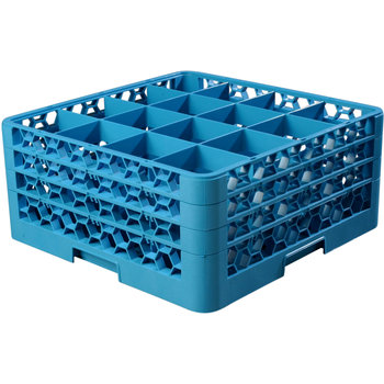 """RG16-314 - OptiClean™ 16 Compartment Glass Rack with 3 Extenders 8.72"""" - Carlisle Blue"""