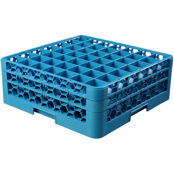 """RG49-214 - OptiClean™ 49 Compartment Glass Rack with 2 Extenders 7.12"""" - Carlisle Blue"""