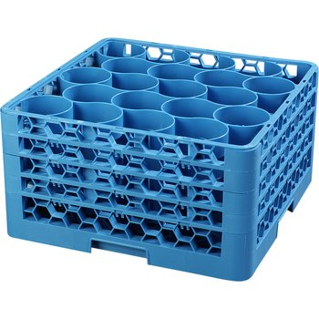 RW20-314 - OptiClean™ NeWave™ Glass Rack with Four Extenders 20 Compartment - Carlisle Blue