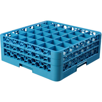 """RG36-214 - OptiClean™ 36 Compartment Glass Rack with 2 Extenders 7.12"""" - Carlisle Blue"""