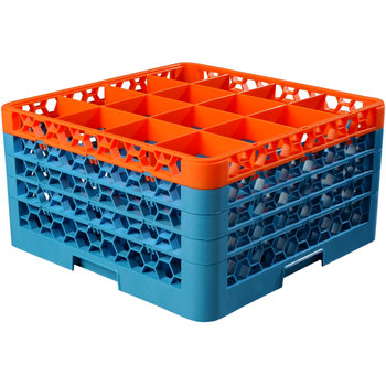 """RG16-4C412 - OptiClean™ 16 Compartment Glass Rack with 4 Extenders 10.3"""" - Orange-Carlisle Blue"""