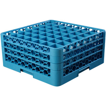 "RG49-314 - OptiClean™ 49 Compartment Glass Rack with 3 Extenders 8.72"" - Carlisle Blue"