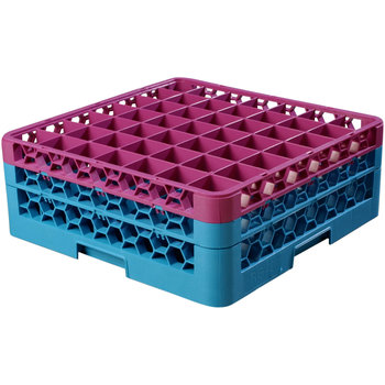 "RG49-2C414 - OptiClean™ 49 Compartment Glass Rack with 2 Extenders 7.12"" - Lavender-Carlisle Blue"