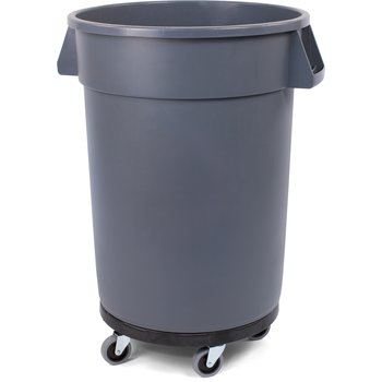 34113223 - Bronco™ Round Waste Container, Dolly, Combo (Lid Sold Separately) 32 Gallon - Gray