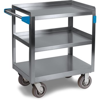 "UC7031827 - 3 Shelf Stainless Steel Utility Cart 700 lb Capacity 18"" W x 27""L - Stainless Steel"