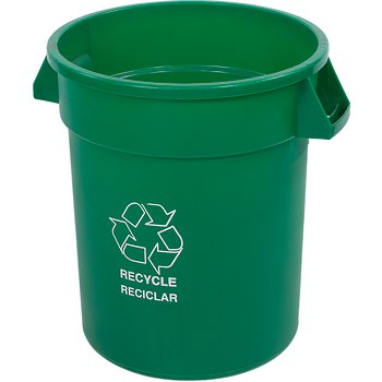 341020REC09 - Bronco™ Round RECYCLE Container 20 Gallon - Green