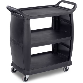 "CC203603 - Small Bussing and Transport Cart 18"" x 36.25"" x 38"" - Black"