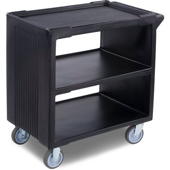 """SBC23003 - Service Cart with 2 Fixed Casters, 2 Swivel Casters, 1 w/Brake 33"""" x 20"""" - Black"""