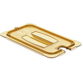 10491U13 - StorPlus™ Univ Lid - Food Pan HH Handled Notched 1/4 Size - Amber