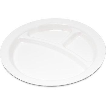 "PCD22002 - Polycarbonate Narrow Rim 3-Compartment Plate 9"" - White"