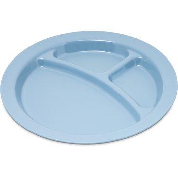 "PCD22059 - Polycarbonate Narrow Rim 3-Compartment Plate 9"" - Slate Blue"