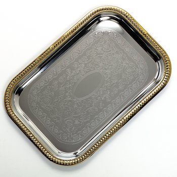 "608908 - Celebration™ Rectangular Tray w/Gold Border 18-1/4"" x 12-3/8"""