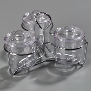 457307 - Set of 3 Condement Jars/Lids and a Caddy - Clear