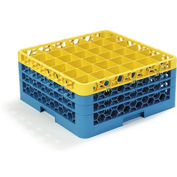 "RG36-3C411 - OptiClean™ 36 Compartment Glass Rack with 3 Extenders 8.72"" - Yellow-Carlisle Blue"