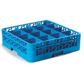 "RG16-114 - OptiClean™ 16 Compartment Glass Rack with 1 Extender 5.56"" - Carlisle Blue"