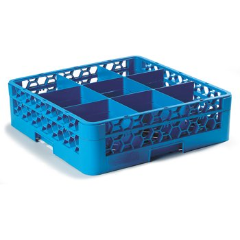 "RG9-114 - OptiClean™ 9 Compartment Glass Rack with 1 Extender 5.56"" - Carlisle Blue"