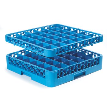 "RG36-1C411 - OptiClean™ 36 Compartment Glass Rack with 1 Extender 19.75"" x 19.75"" x 5.56"" - Yellow-Carlisle Blue"