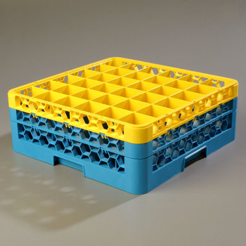 RG36-2C411 - OptiClean™ 36-Compartment Glass Rack w/2 Extenders  - Yellow-Carlisle Blue