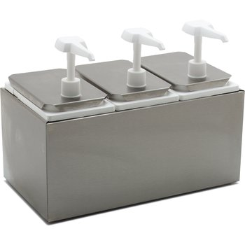 """38503 - Topping Rail w/ 3 ea Standard Pumps & Jars 14-7/16"""", 7-3/4"""", 12-1/2"""" - Stainless Steel"""