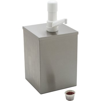 "38601 - High Volume Condiment Pump w/Fixed Nozzle Pump 7-1/4"", 7-1/4"", 15"" - Stainless Steel"