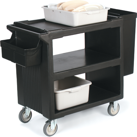 "Carlisle Service Cart with 2 Fixed Casters, 2 Swivel Casters, 1 w/Brake 33"" x 20"" - Black SBC23003"