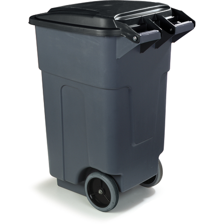34505023 - Bronco™ Square Rolling Waste Container Trash Can with Hinged Lid 50 Gallon - Gray