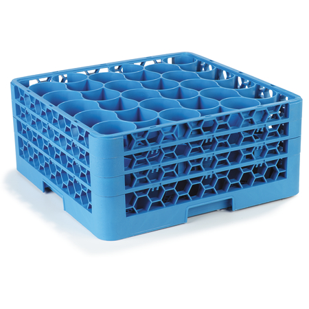 RW30-214 - OptiClean™ NeWave™ Glass Rack with Three Extenders 30 Compartment - Carlisle Blue