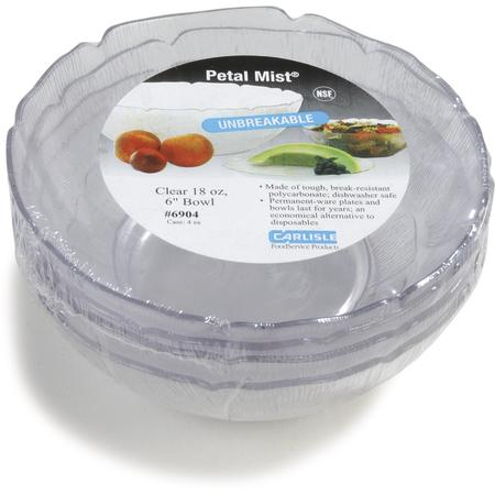 """6904-807 - Petal Mist® Bowl 18 oz, 6"""" - Cash & Carry (4/st) - Clear"""