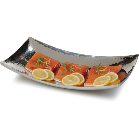 "609215 - Curved Tray w/Hammered Finish 12"" x 7"" - Stainless Steel"