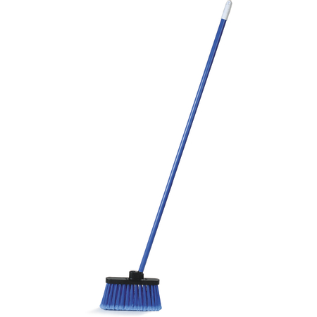 3686314 - Duo-Sweep® Wide Light Industrial Lobby Broom, Flagged With Blue Metal Threaded Handle - Blue