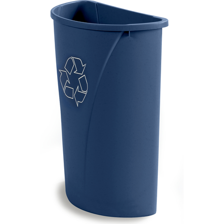 343021REC14 - Centurian™ Half Round RECYCLE Waste Container 21 Gallon - Blue