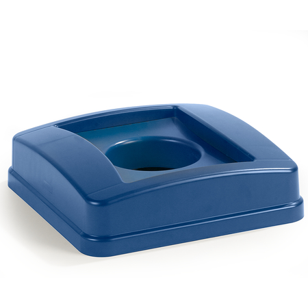 343527REC14 - Centurian™ Square RECYCLING Waste Container Lid with Bottle and Can Receptacle 23 Gallon - Blue