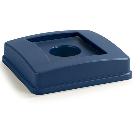 343936REC14 - Centurian™ Square RECYCLING Waste Container Lid with Bottle and Can Receptacle 35 and 50 Gallon - Blue